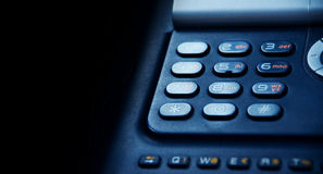Telephone. Blue telephone with copy space Stock Photos