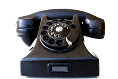 Telephone. Black retro telephone on white Royalty Free Stock Image