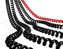 Telephone. Several telephone cables red and black isolated in white royalty free illustration