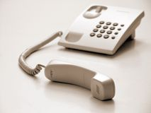 Telephone. With receiver out, just like waiting to pick up Royalty Free Stock Image