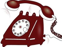 Telephone. Antique red telephone on white background Stock Images