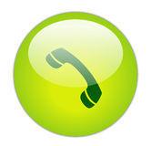 Telephone. Glassy Green Telephone Icon Button vector illustration