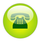 Telephone. Glassy Green Telephone Icon Button royalty free illustration