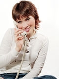 Telephone. Girl with telephone Royalty Free Stock Photography