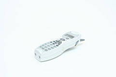 Telephone. A white telephone on a white background Stock Photo