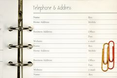 Telephone and address form Royalty Free Stock Photography