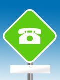Telephone area with blank board Stock Photo