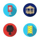 Telephone automatic, gazebo, garbage can, wall for children. Park set collection icons in flat style vector symbol stock Royalty Free Stock Photo