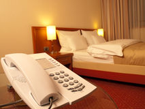Telephone in the bedroom Royalty Free Stock Photo