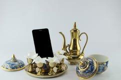 Telephone on benjarong plumeria on white background Royalty Free Stock Images