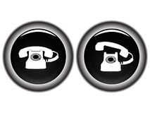 Telephone black icons against white Royalty Free Stock Images