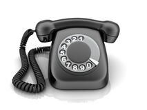 Telephone black, view front Royalty Free Stock Photos