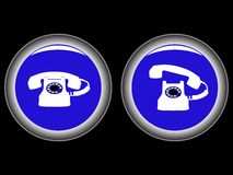 Telephone blue icons against black Royalty Free Stock Photos