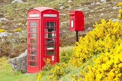 Telephone booth. And letter box near Laid, Scotland Stock Photo