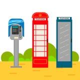 Telephone booth cartoon set. Stock Photos