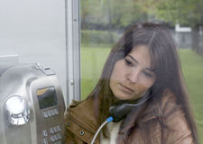 In the Telephone Booth Stock Photo