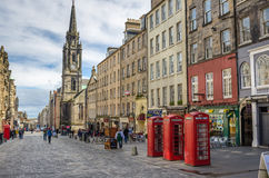 Telephone Booths on the Royal Mile in Edinburgh. Traditional Telephone booths on the Royal Mile. The Royal Mile runs downhill between the Castle and Holyrood Royalty Free Stock Image