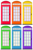 Telephone booths in six colors Royalty Free Stock Photography