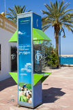 Telephone Box. A Movistar telephone box located in a holiday resort Stock Photography