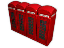 Telephone box. Four telephone boxes in a row on a white background Stock Images