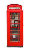 Telephone Box. British Red Phone Booth isolated on white Royalty Free Stock Photography