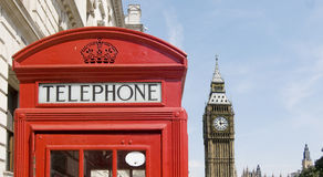 Telephone box with Big Ben in background. Royalty Free Stock Images