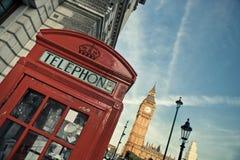 Telephone box and Big Ben Stock Image