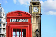 Telephone box and Big Ben in London Royalty Free Stock Images