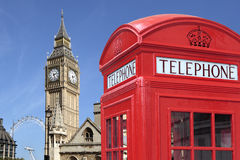 London UK red telephone booth Big Ben, Houses of Parliament Stock Photos