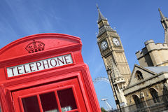 London British red telephone box booth Big Ben Royalty Free Stock Images