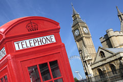 London UK red telephone box Big Ben Royalty Free Stock Photos
