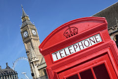 UK British red telephone box booth Big Ben Stock Images