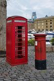 Red British Icons of London. A telephone box and mail box both London and British Icons Royalty Free Stock Images