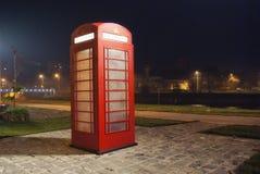 Telephone box at night Royalty Free Stock Photo