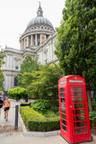 Telephone box and St Paul's Cathedral Royalty Free Stock Photography