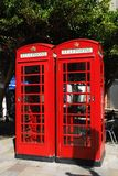 Telephone boxes, Gibraltar. Royalty Free Stock Image