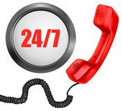 Telephone and 24/7 button. 24 hours in day, 7 days in week support concept. Vector Stock Photo