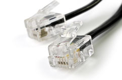 Telephone cable closeup,  over white Royalty Free Stock Images