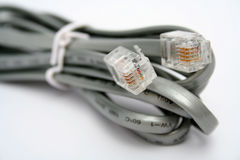 Telephone cable with tips. Macro horizontal Royalty Free Stock Photo