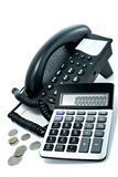 Telephone and the calculator Royalty Free Stock Image