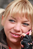 Telephone call. Portrait of the girl. Telephone conversation Stock Image