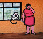 Telephone call. She smokes a cigarette, and chats on the phone. A cat jumps into her window, to listen in on the conversation Stock Image