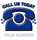 Telephone call today. The words call us today above a blue ringing telephone vector illustration