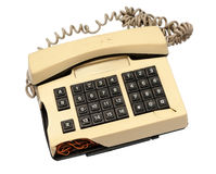 Telephone collection - crashed phone on white background Stock Photography