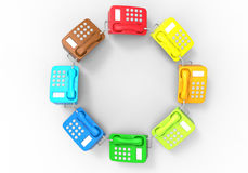 Telephone - color diversity concept. 3D render illustration of multiple telephones colored with different colors. The composition is isolated on a white Royalty Free Stock Photos