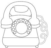 Telephone coloring page. Useful as coloring book for kids Stock Photo