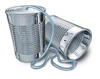 Telephone communication. Tin can telephone isolated on white royalty free illustration