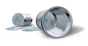 Telephone communication. Tin can telephone isolated on white vector illustration