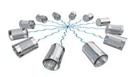 Telephone communication. Tin can telephone isolated on white stock illustration
