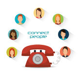 Telephone communication connected people. Vector illustration eps 10 Royalty Free Stock Images